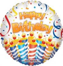 """Воздушный шарик 18""""/45см Happy Birthday свечи фольгированный"""