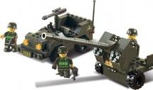 Конструктор Sluban Армия. Зенитное орудие и джип 138 деталей