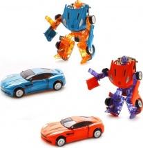 Трансформер Робот-Машина Пламенный мотор Космобот голубой/оранжевый