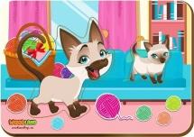 Вкладыши WoodLand Мама и детеныш: Кошки