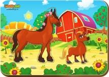 Вкладыши WoodLand Мама и детеныш: Лошади
