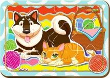 Пазл WoodLand Кошка и собака