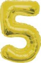 """Воздушный шарик 40""""/102 см Цифра 5, золото"""