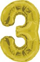 """Воздушный шарик 40""""/102 см Цифра 3, золото"""