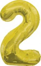"""Воздушный шарик 40""""/102 см Цифра 2, золото"""