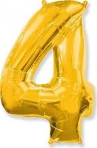 """Воздушный шарик 28""""/70 см Цифра 4, золото"""