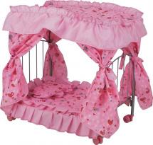 Кроватка для куклы Buggy Boom Loona с балдахином, сердечки (розовый)