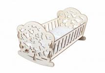Кроватка для кукол Бабочки, деревянная