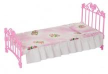 Кроватка для кукол розовая с постельным бельем