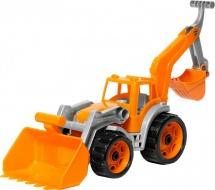 Трактор Технок с двумя ковшами, оранжевый