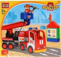 Конструктор Город мастеров Большие кубики. Пожарная машина 30 деталей