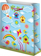 Пакет подарочный Птички, голубой 12х15 см
