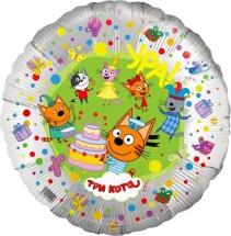 """Воздушный шарик 18""""/45см Три кота серебряный фольгированный"""