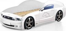 Кровать-машина Мустанг PLUS с подсветкой фар, белый