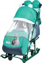 Санки-коляска Ника детям 7-2, с котенком изумрудный