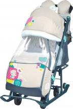 Санки-коляска Ника детям 7-2, с медвежонком бежевый