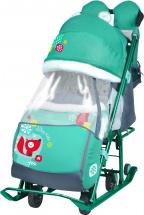Санки-коляска Ника детям 7-2, с лисичкой изумрудный