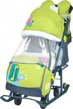 Санки-коляска Ника детям 7-2, с жирафом лимонный