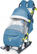 Санки-коляска Ника детям 7-3, в джинсовом стиле синий