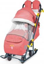 Санки-коляска Ника детям 7-3, в джинсовом стиле красный