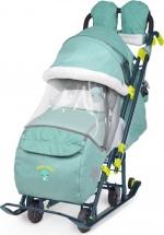 Санки-коляска Ника детям 7-3, в джинсовом стиле зеленый
