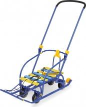 Санки Ника Nikki 3 складные с выдвижными колесами, синий