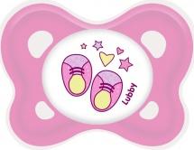Пустышка Lubby Кнопочка силикон ортодонтическая в комплекте с колпачком с 0 мес, розовый