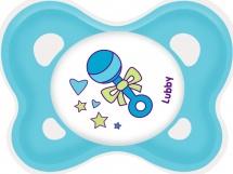 Пустышка Lubby Кнопочка силикон ортодонтическая в комплекте с колпачком с 0 мес, голубой