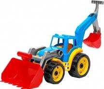 Трактор Технок с двумя ковшами, цветной