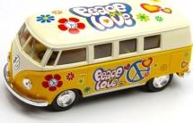 Автобус Kinsmart Volkswagen Classical Bus 1962 с рисунком, желтый