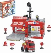 Гараж Пожарная часть 67 деталей со световыми и звуковыми эффектами