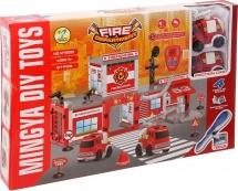 Гараж Пожарная станция 91 деталь с отверткой и 2 машинами