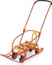 Санки Ника Nikki 3 складные с выдвижными колесами, красный