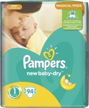 Подгузники Pampers New Baby-Dry Newborn (2-5 кг) 94 шт