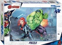 Пазлы Steppuzzle Marvel 2 Мстители Халк и Черная Вдова 54 элемента