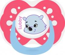 Пустышка Lubby Веселые животные. Мишка латекс симметричная с 6 до 12 мес