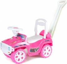 Машина-каталка Орион с ручкой, розовый