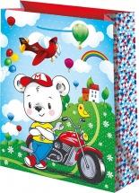 Пакет подарочный Мишка мотоциклист 26х32 см