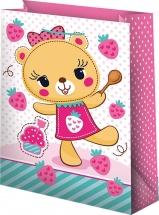 Пакет подарочный Мишка, розовый 22х31 см