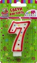 Свеча-цифра 7 Красное ассорти 7,5 см