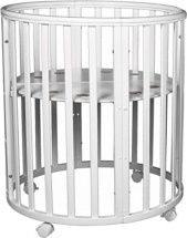 Кроватка-трансформер Dreams Бук Standart 8 в 1 круглая с маятником, белый