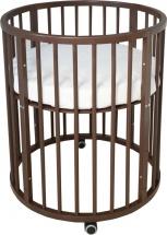 Кроватка-трансформер Dreams Бук Standart 8 в 1 круглая с маятником, венге