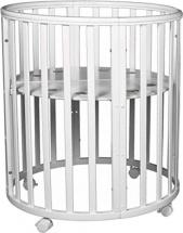 Кроватка-трансформер Dreams Бук Premium 8 в 1 круглая с маятником , белый