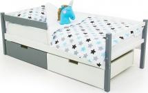 Кровать-тахта Svogen с бортиком и ящиками, графит/белый