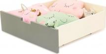 Кровать-тахта Skogen с бортиком и ящиками, графит/белый
