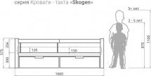 Кровать-тахта Skogen с бортиком и ящиками, мята/белый
