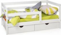 Кровать Scandi Sofa с бортиком и ящиками, белый