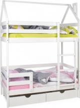 Кровать-домик Scandi Barn двухъярусная с бортиком и ящиками, белый