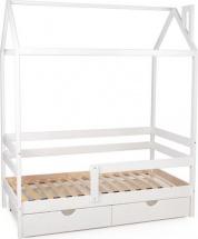 Кровать-домик Scandi Nest одноярусная с бортиком и ящиками, белый