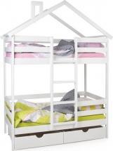 Кровать-домик Scandi Hut двухъярусная с бортиком и ящиками, белый